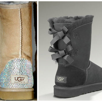 Swarovski Crystal Embellished Grey Bailey Bow Uggs - Winter / Holiday Bling UGGs 2013