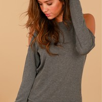 Cold Shoulder Sweater Charcoal