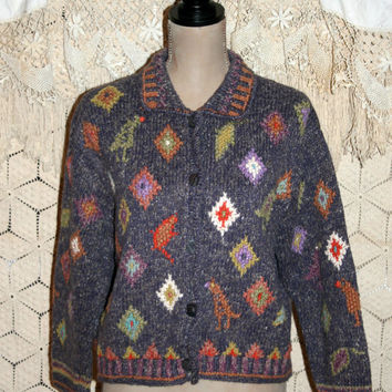 Oversize Chunky Cardigan Sweater Grunge Southwestern Native American Heavy Cotton Sweater Purple Sigrid Olsen XL 2X Women Plus Size Clothing