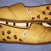 Cheetah Print Burlap TOMS Shoes