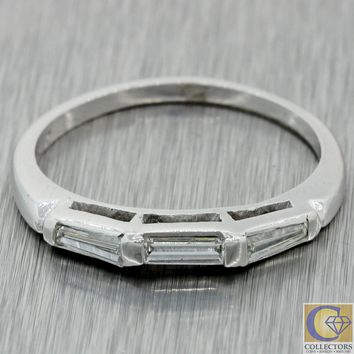 Vintage Estate Platinum 0.35ct Tapered Baguette Cut Diamond Wedding Band Ring A1