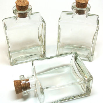 4 Square Bottles- 5 oz Flat Sided Bottles for Perfume, Reed Diffuser, DIY Wedding, Oil & Vinegar, Bath Salt, Message in Bottle, Favors
