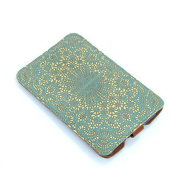 Leather Smartphone Case - Teal lace / Brown back
