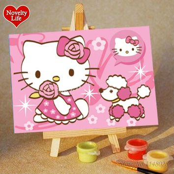DIY Small Frame Picture Painting By Numbers Kitty Cat Girl Children Home Decor Canvas Oil Painitng Kids Bed Room Living Wall Art