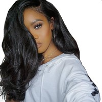 Lace Front Brazilian Remy Human Hair Wig With Baby Hair Pre Plucked Body Wave