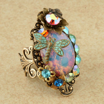 Pink Harlequin Opal Ring Teal Dragonfly Ring