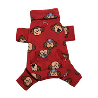 Silly Monkey Turtleneck Pajamas — Red