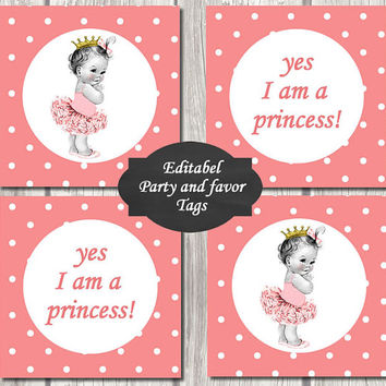 EDITABEL-Princess Baby Shower baby princess Cupcake Toppers Printable Party baby  DIY Party Toppers girl peach dots favor tags