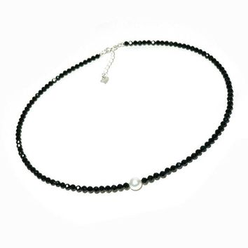 DCCKV2S Wiw Single Pearl Choker Necklace on Black Spinel Rondelle Beads Necklace Strand with 925 Silver Ext. Clasp Handmade Jewelry