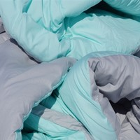 Glacier Gray/Bleached Aqua Reversible College Comforter - Twin XL Bedding