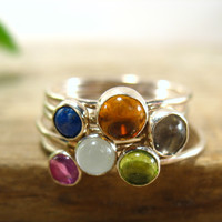 Stacking Rings Silver Gemstone