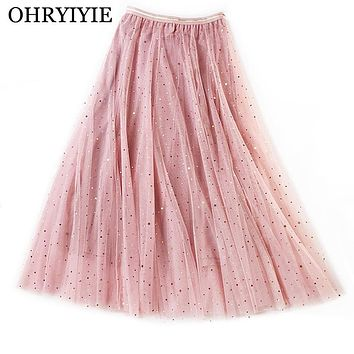 OHRYIYIE Pink Gray Sequined Tulle Skirt Women 2019 Spring Summer Elegant A-line Skirts Female Elastic High Waist Midi Skirt S225
