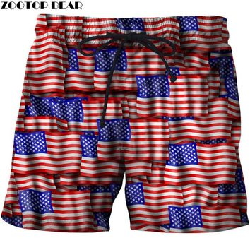 Love Banner Men T Shorts Beach Male Star Pant Breathable USA Flag Quick Casual Dry Bodybuilding 3D Printer Clothing ZOOTOP BEAR