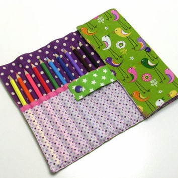 Roll pencil case for girl, birds and flowers patterns - 10 pencils free !