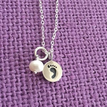 Mom Necklace - Mother's Day Gift - Foot Print Necklace - Mom Jewelry - Sterling Silver - Dainty Minimalist - Mother - Family - Expecting Mom