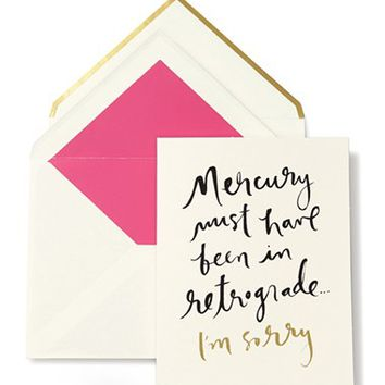 kate spade new york 'mercury retrograde - I'm sorry' greeting card