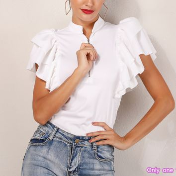 Spring and summer women's new fashion solid color ruffled zipper stand collar slim shirt