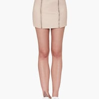 Khaki Double Zipper Mini Skirt