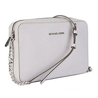 Michael Kors Women's Large Jet Set Crossbody Leather Bag Optic White