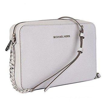 3e0d00af1b2e Michael Kors Women's Large Jet Set Crossbody Leather Bag Optic White