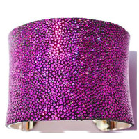 Stingray Leather Cuff Bracelet- Magenta -by LEATHER WRAPS