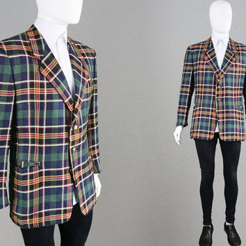 Vintage GIVENCHY Gentleman 80s Mens Blazer Lightweight Jacket Check Blazer Linen Jacket Summer Jacket Made in Italy Tartan Blazer Designer