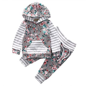 Newborn Infant Baby Girl Floral Striped Hoodie Tops+Pants Out Long sleeve girls clothes set drop ship