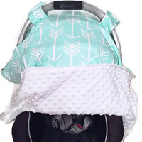 Gender Neutral Baby Carseat Canopy, Mint & Arrow Carseat Canopy Cover OR blanket by BizyBelle  (You pick color backing)