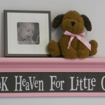 "Girls Shelf Brown Pastel Pink Nursery Decor Wall Sign - 30"" Shelf Pink - Thank Heaven For Little Girls - Room Decor"