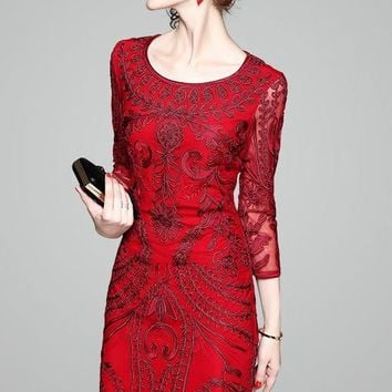 Floral Embroidered Lace Dress