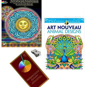 Mandala Coloring Books For Adults Prismacolor Pencils 2 Books Metal Sharpener 4 Piece Bundle (Art Nouveau Animals & Mandala)