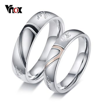 Trendy Vnox Heart Puzzle His Queen Her King Rings for Couple Women Men Alliance Stainless Steel Wedding Jewelry Lovers Anniversary Gift AT_94_13
