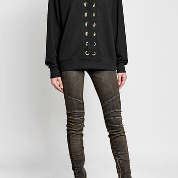 Cotton Sweatshirt with Lace-Up Front - Balmain | WOMEN | US STYLEBOP.COM