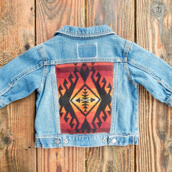 Baby Vintage Levi's Denim Jacket w/ Warm Hued Pendleton Back. Size 3 to 6 Months.