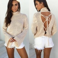 Turtleneck Long Sleeve Women Tops  Knitted  Shirts