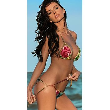 Liliana Montoya Swim B049R2 Rosales Atlante Triangle Top & Side Tie Scrunch Bottom Swimwear Set