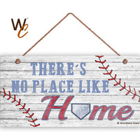"There's No Place Like Home Sign, Baseball Sign, Home Plate, Weathered Wood, 5"" x 10"" Sign, Wall Plaque, Gift For Him, Made To Order"