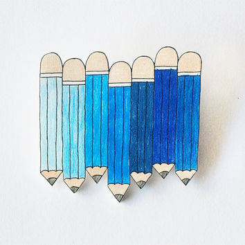 Blue Pencils Brooch - Made To Order