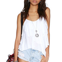 White Sleeveless Low Back Tiered Top