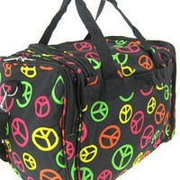 World Traveler Multicolor Peace Sign Duffle Bag 19-inch