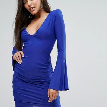 Club L Long Fluted Sleeve Ruched Mini Bodycon Dress at asos.com