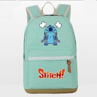 Girls bookbag Wave point Lilo Stitch backpack women shoulder travel bag canvas Teenage Girl Backpacks Student Bookbag laptop bagpack Mochila AT_52_3