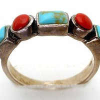 Stacking Ring Turquoise Coral Sterling Silver Size 4.75