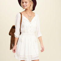 Lace Panel Peasant Dress