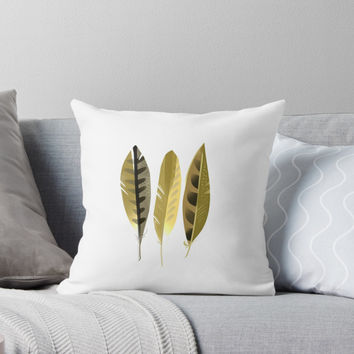 'Feathers III' Throw Pillow by printapix