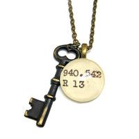 Black Aged Skeleton Key Brass Dewey Decimal Librarian Necklace by The Written Nerd