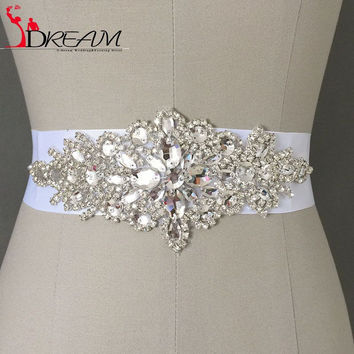 Discount 2016 Real Picture Amazing Crystal Beads Shinny Cheap Promotion Charming Bridal Belt Women Sashes rhinestones belt
