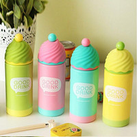 4 Colors Cute Ice Cream Modeling Double Wall Plastic Cup Thermos Mug Thermal Bottle Thermocup Child Kid Gifts