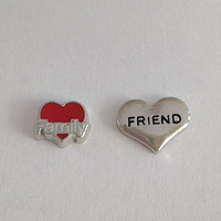 Floating charms for living memory lockets - family on red heart, silver friend heart