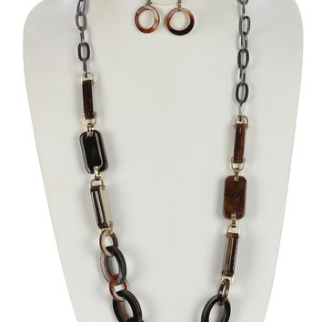 Turtois Lucite Stone Chunky Chain  Chunky Link Double Link  Necklace Earring Set